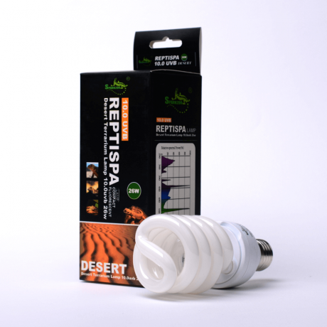 УФ лампа Sparkzoo Desert Reptispa 10.0 UVB 26 Вт для среднеазиатских черепах, бородатых агам и варанов