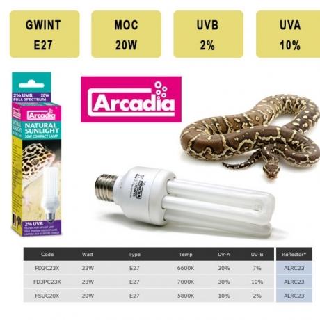 Лампа для рептилий Arcadia Compact E27 Sunlight 2%